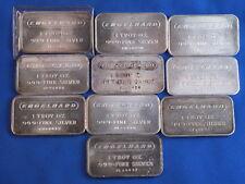 Engelhard Silver One Ounce Ingot Bar Lot Of 10 B4112