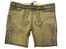 Bavarian Men's Trachten Lederhose short in Antique , Antik beige, + Buckle Belt