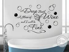 Muro Bagno Adesivo preventivo, profonda Bagno Bicchiere di vino, con bolle, Wall Art