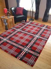 Soft Quality Tartan Red Silver Grey Check Carpet Mat Rug Long Hall Runners Cheap