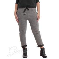 Pantalone Donna Pantatuta Elastico Laccetti Tasca America Melange Casual Comf...