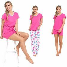 Ladies 3 Piece Cotton Printed Pyjamas & Plain Shorts With Short Sleeve Top Set