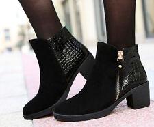 botas invierno alto cómodo zapatos de tacón mujer 5 cm negro 8715