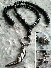 Halskette Onyx matt Skull Kreuz Zahn totenkopf Runde Spange Necklace Hämatit