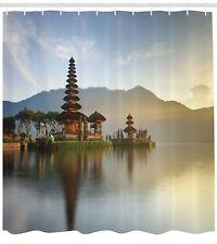 Asian Shower Curtain Pura Ulun Danu Temple Print for Bathroom
