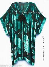 Maya Matazaro Silk Burnout Velvet Jacket Kimono Duster Teal & Black No Fringe