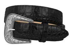 Mens Crocodile Alligator Pattern Leather Western Dress Cowboy Belt Black