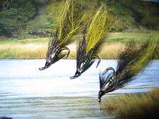 3 V Fly Size 10 Green Pearl JC Black & Yellow Silver Treble Salmon Flies