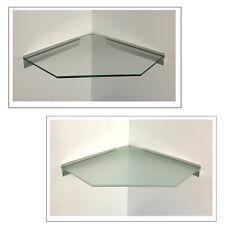 Eckregal Glas klar satiniert 40x40 cm Pentagon / Profil Alu silbern/Kabelführung