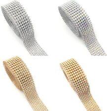 45'' Length 8 Lines Diamante iron on Crystal Diamante Hot fix Strip Reel Ribbon