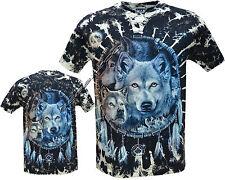 Nuevo Wolfpack Nativa Americana India Biker Brillan En Oscuridad Tye Dye T-Shirt M -3 Xl