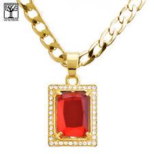 "Men's CZ Square Red Ruby Pendant 20"" / 22"" Cuban Chain Necklace Set CP 223 G"