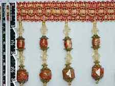 """3"""" Exquisite Tassel Fringe Marble Bead Trim Coral Per Yard"""
