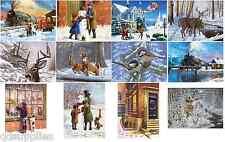 12 Diseños Navidad Nieve escenas festivo Pinturas A3 y A4 Pintura por número de kits