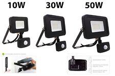 Black 10W 30W 50W LED PIR Sensor Security Floodlight Outdoor IP65 Daylight 6500K
