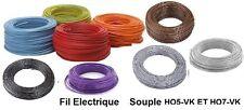 Fil électrique souple HO5-VK 0,75 mm²    100 mètres  et  9 Couleurs différentes