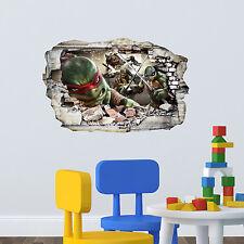 Tmnt Tortugas en pared grieta Niños Dormitorio Decal Sticker Pared Arte Regalo
