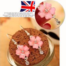 New Crystal Flower Long  Drop Earrings Bridal Rhinestone Pink Silver Dangle UK