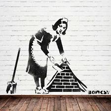 Banksy Enorme barrido MAID Estarcido Mural Tamaño Natural, Pintura paredes Ideal