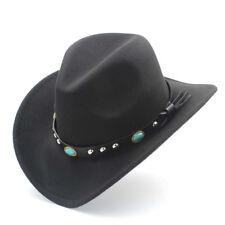 Unisex Autumn Winter Retro Western Equestrian Cowboy Hat Turquoise Leather Belt