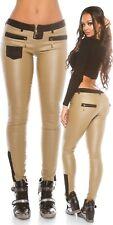 Pantaloni in pelle con inserti tessuto H18968