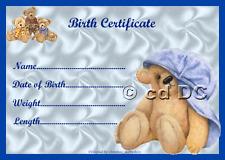 "BLUE TEDDY BIRTH CERTIFICATE/CERTIFICATES 4 REBORN FAKE BABY/TEDDY approx 7""x 5"""