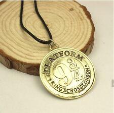 Harry Potter Platform 9 3/4 Gold Stamped Alloy Pendant Necklace Jewelry