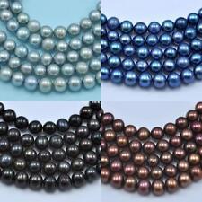 Perles de Culture d'Eau Douce Presque Rondes 5-6mm Noir Bleu Gris Marron A