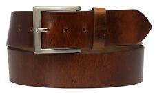 Echt LEDER Gürtel Herren Damen Büffelleder Dark Braun -5cm Breit -ca.4mm Dick D2