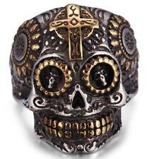 Party Halloween Stainless Steel 7-14 Biker Cross Rings Men Skull Punk Gold Ring