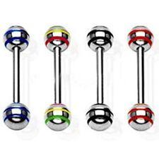 Stab Barbell Kugeln 4 Farben einzeln oder Set 1,6x16x5 Edelstahl Zunge Brust