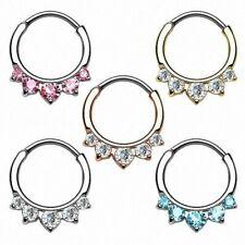 Septum Piercing Universal Oreja Hélice Anillo Clicker Estrás Cristal puntas