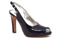 DIVINE FOLLIE 0191 VERNICE BLU Chanel Spuntato Sandalo Donna Tacco Alto Plateaux