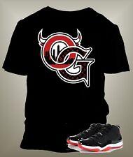 Jordan 11 Bred Low OG T Shirt to match Jordans Shoes on Black Pro Club S-10 XL
