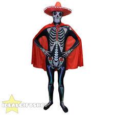 Giorno dei morti Senor Scheletro Tuta Di Pelle Rossa Cape SOMBRERO Halloween Fancy Dress