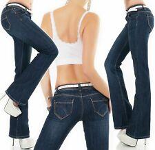 Donna Jeans Bootcut Elasticizzato Casual Pantaloni Nero Tg UK 6-14