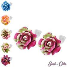 1 PAIO ORECCHINI CHIUSURA A Farfalla Fiori Rose Lotus plastica