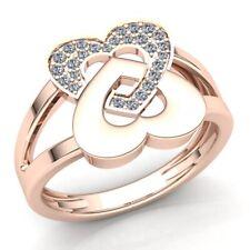 1carat Round Cut Diamond Ladies Alternating Heart Anniversary Ring 18K Gold