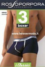 3 Boxer uomo Rossoporpora in cotone elasticizzato con elastico logo art UB450