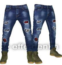 Jeans uomo Denim pantaloni slim strappi design scritte elasticizzati toppe 3950
