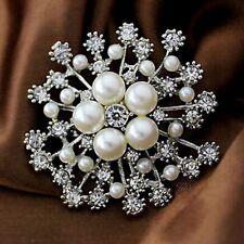 Dress Women Accessories Crystal Rhinestone Pearl Flower Brooches Pins Jewelry