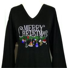 PLUS 2X Top Rhinestone Embellished MERRY CHRISTMAS W/Dangling Ornaments Design