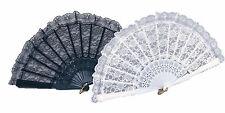 Nero Pizzo Bianco Ventaglio Spagnolo Flamenco Vittoriano My Fair Lady Burlesque