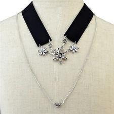 17KM Women Crystal Flower Tattoo Choker Necklace Collar Jewelry