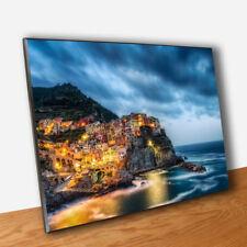 🌞Quadro Riomaggiore Cinque Terre Stampa su Tavola Mdf Vernice Pennellate ⛵️
