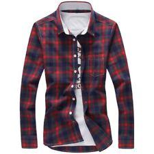 Camisas de tela escocesa de Los Hombres M-5XL Rojo Calidad 2017 Venta Caliente d