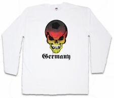 GERMANY GERMAN FOOTBALL SKULL FLAG LANGARM T-SHIRT Deutschland Fußball Fahne