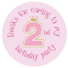 'Merci Pour Coming To My 2ème Fête D'anniversaire' - Pois - 30mm stickers