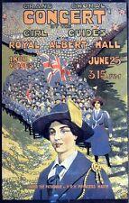 VINTAGE BRITISH Girl Guide CONCERT ROYAL ALBERT HALL POSTER A3 stampa