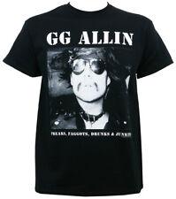 Authentic GG ALLIN Freaks, Faggots, Drunks & Junkies T-Shirt S M L XL 2XL NEW
